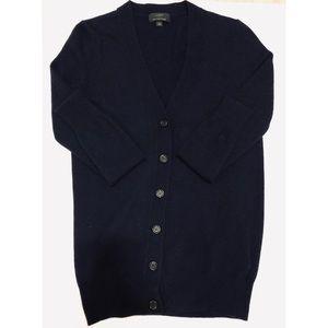 Jcrew classic vneck cardigan w/ cashmere navy xxs
